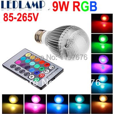 Free shipping 2 pcs/lot E27 RGB LED Lamp 9W AC110V 220V 85-265V led Bulb Lamp with Remote Control multiple colour led lighting(China (Mainland))