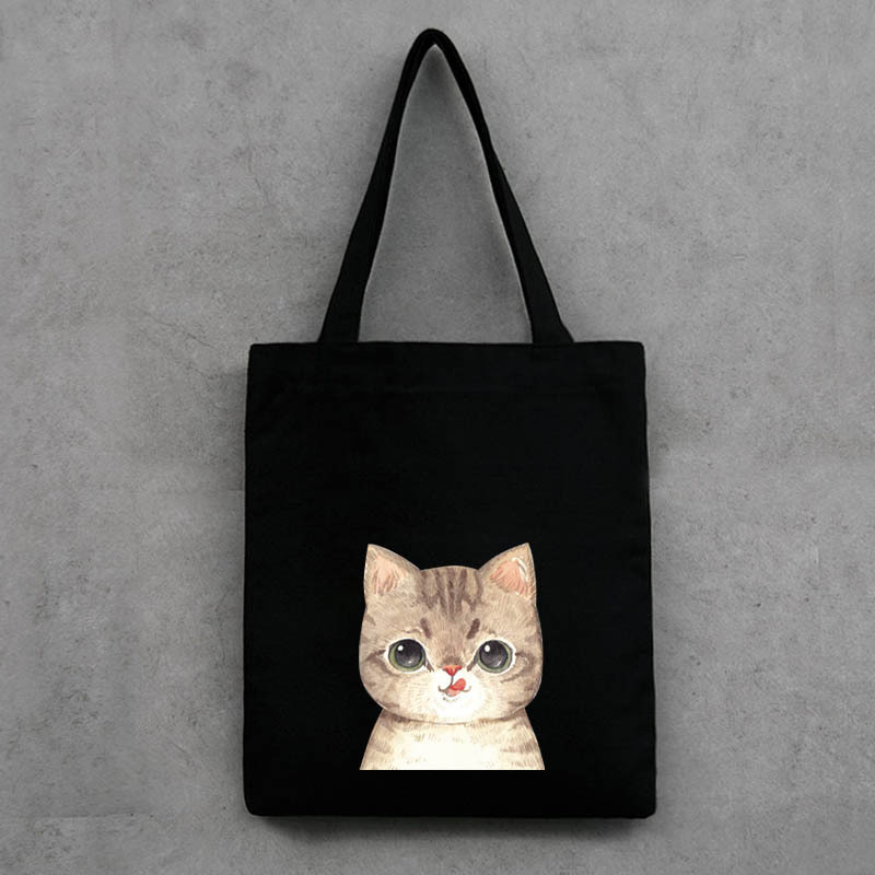 Printed fashion Canvas shopping bag Environmental protection storage bag cute cat supermarket trolley bag large capacity handbag(China (Mainland))