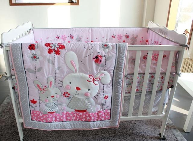 Ups розовый кролик мультфильм постельных принадлежностей детская кроватка кроватки ...