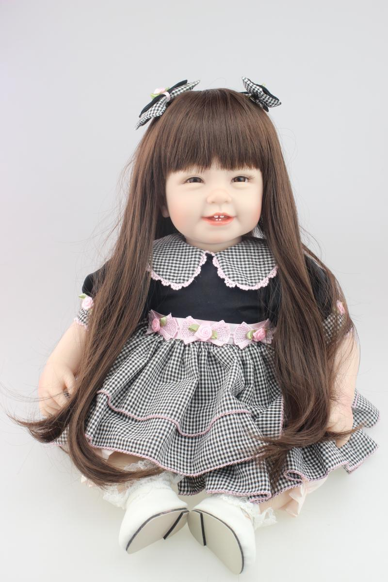 Фотография Silicone vinyl baby doll toys for girl lifelike smile babies play house toy birthday gift girl brinquedods