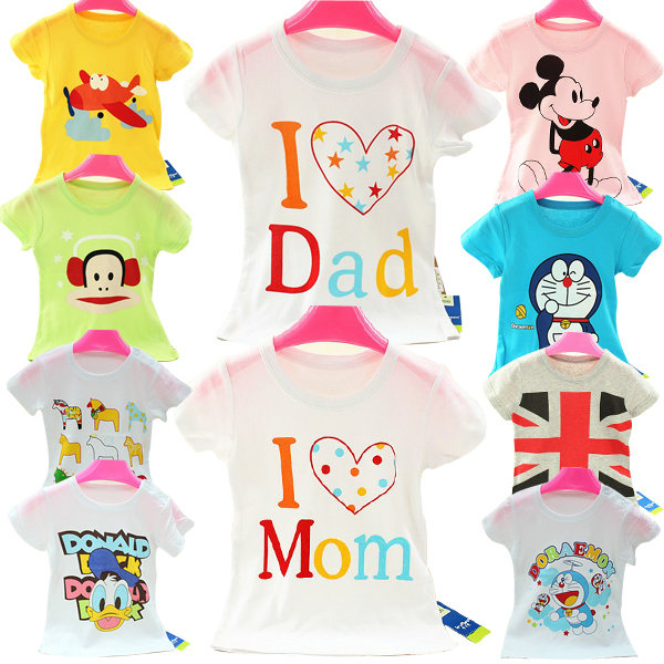 Retail Brand 2015New baby Kids Girls T shirt Child Clothing Childrens Tops Summer Clothes Short Sleeve Tee blouse Shirts Cartoon(China (Mainland))