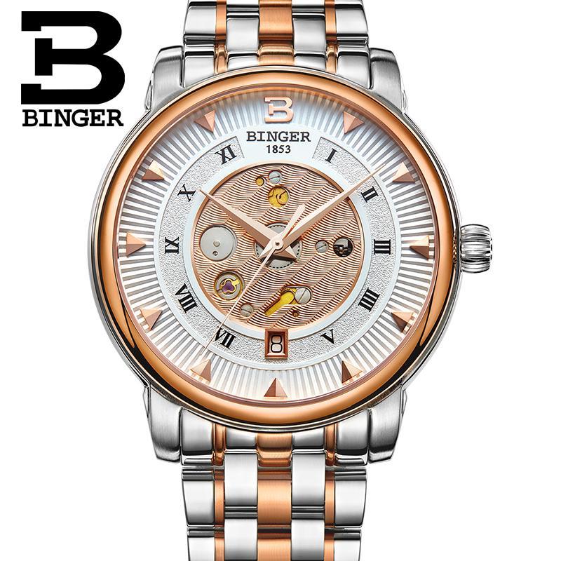 Men Watches 2015 Top Mechanical BrandWrist Watch BINGER 50m Water Resistance Male Business Stainless Steel Watch Leather Belt <br><br>Aliexpress