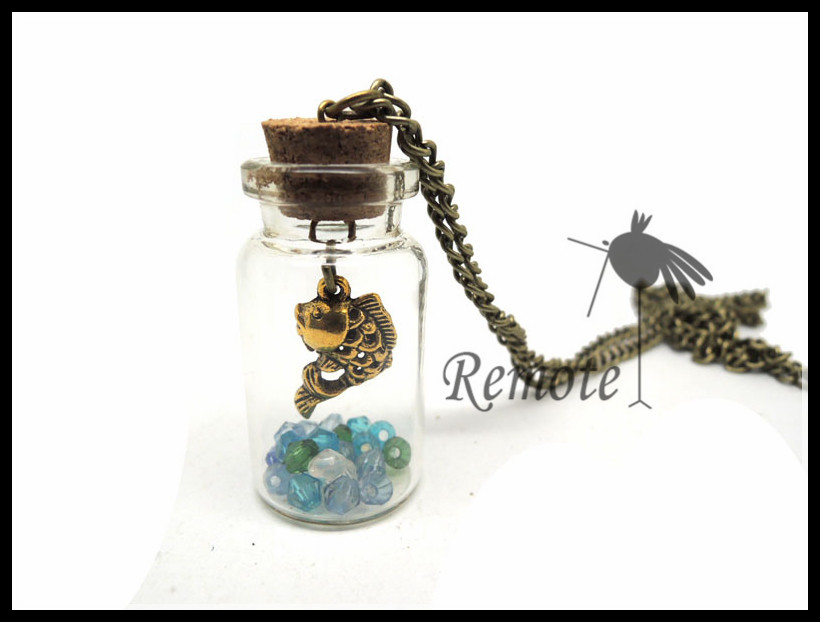 Jar necklace nautical fish ocean in a bottle vial necklace NW1629<br><br>Aliexpress