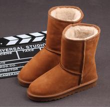 100% lana de oveja de piel de nieve del zurriago del cuero genuino de la señora caliente del invierno del dedo del pie redondo Slip slide en mitad de la pantorrilla zapatos(China (Mainland))