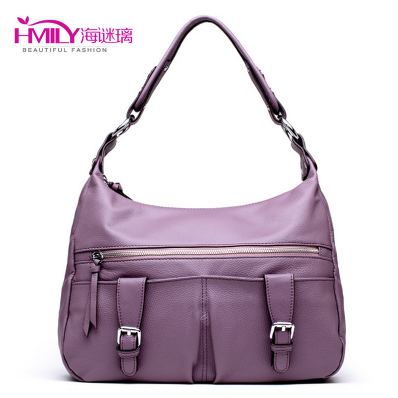 Genuine Cow Leather Women Bag Lichee Pattern Shoulder Bags Trendy Crossbody Ladies Bag Five Colour Handbag Double Hasp Daily Bag(China (Mainland))
