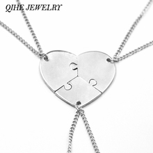 Buy QIHE JEWELRY 3 Pcs Heart Puzzle Jigsaw Necklace Set 3 Puzzle Pieces Charm Mother Daughter Sister Best Friend Necklace Jewelry for $1.99 in AliExpress store