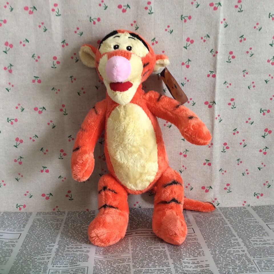 Free shipping 32cm=12.6inch Original Cartoons Tigger Stuffed Animal Plush Toy Soft Tiger Baby Doll For Birthday Gift(China (Mainland))