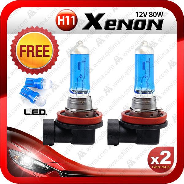 2pcs H11 xenon auto 12V 80W super bright blue with free gift T10 xenon white + free shipping(China (Mainland))