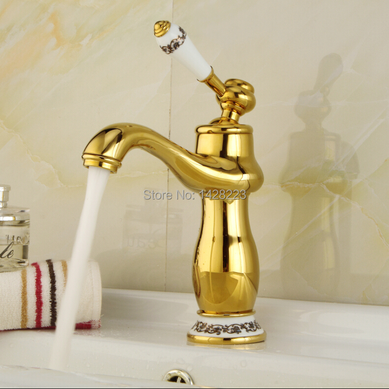 Фотография Beautifull Deck Mounted Solid Copper Golden Basin Faucet Hot and Cold Water One Handle