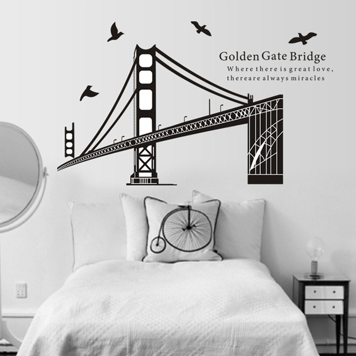 Wholesale San Francisco bridge wall stick environmental background the sitting room the bedroom office decorative stickers(China (Mainland))