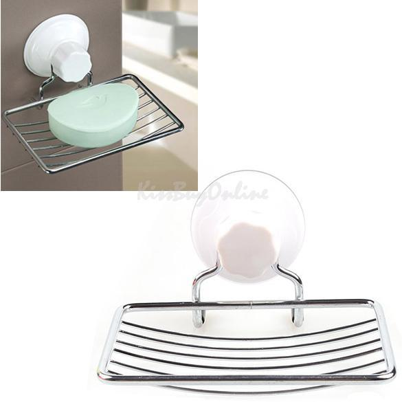 Fashion Strong Suction Bathroom Shower Accessory Soap Dish Holder Cup Tray OD S