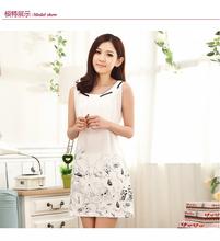 Plus Size M 3XL Fashion White Pink Girl Dress Summer Casual font b Nightgown b font