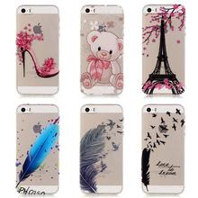 Buy Iphone 5S Case Transparent Design Phone case Coque Iphone 5S Cover Feather Soft Silicone thin Colorful Flowered for $2.39 in AliExpress store