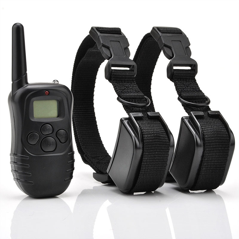 Rechargeable Waterproof LCD 100LV Shock Vibra Remote 2 Dogs Training Collar Electronic Dog Collar Remote Control VE867 T15 0.5(China (Mainland))