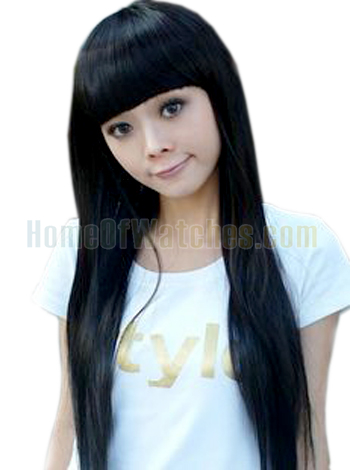 Black Long Straight Wigs Flat Bangs Wigs (NWG0LO60709-BL2)(China (Mainland))