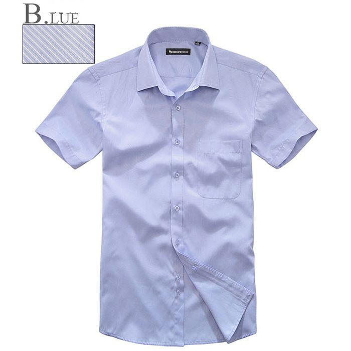 Dress shirt 2015 men brand Mens fitted dress Shirts Short sleeve Business Casual Sky Blue DXXW04 - P&R Fashion Store store
