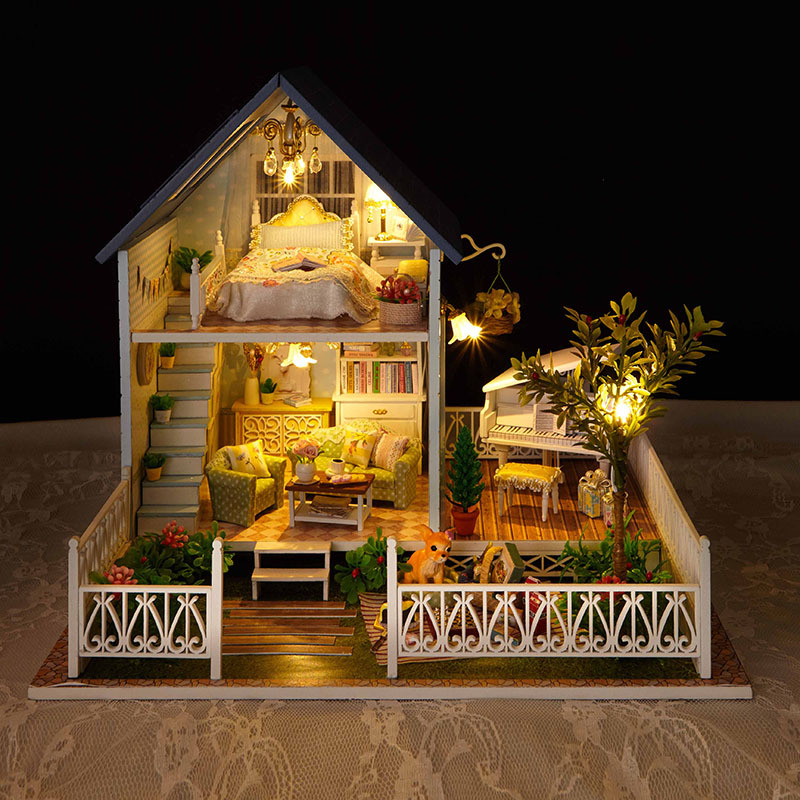 A030 North Europe holiday BIG size DIY Wooden Miniatura Doll House Furniture Handmade 3D Miniature Dollhouse Toys Gifts(China (Mainland))