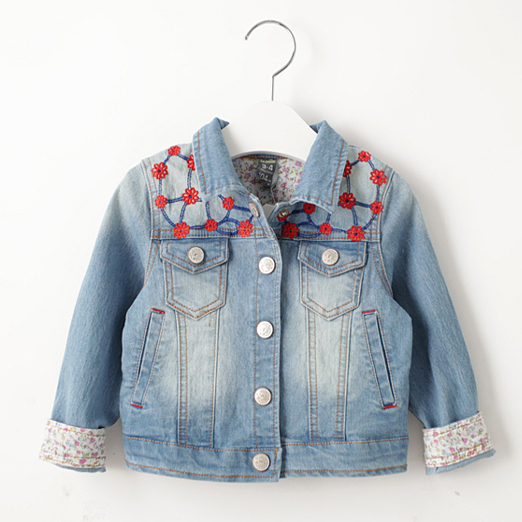 Denim Jacket For Girl Spring / Autumn Long Sleeve Jacket Children Clothes 2015 Baby Jeans Jackets Girls Kids Outwear For Girl