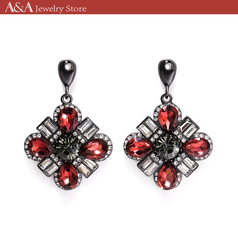 Drop Earrings Luxury Red Wine Crystal Women Earrings For Party Fashion Earrings Brand A&A Jewelry(China (Mainland))