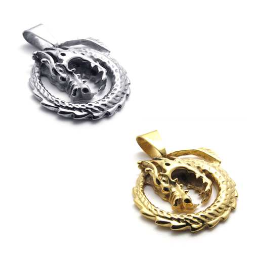 20462/3 Fashion Men 316L Stainless Steel Pendant Necklaces Vintage Punk Style Dragon Pendant Necklaces Silver / Gold(China (Mainland))