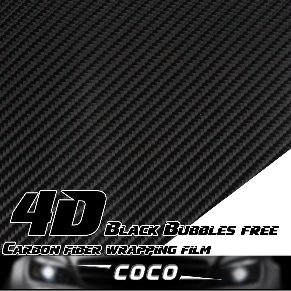 Car carbon sticker design - 30 152cm Car Truck Whole Body Hood Roof Tailgate Door 4d Carbon Black Fiber Vinyl