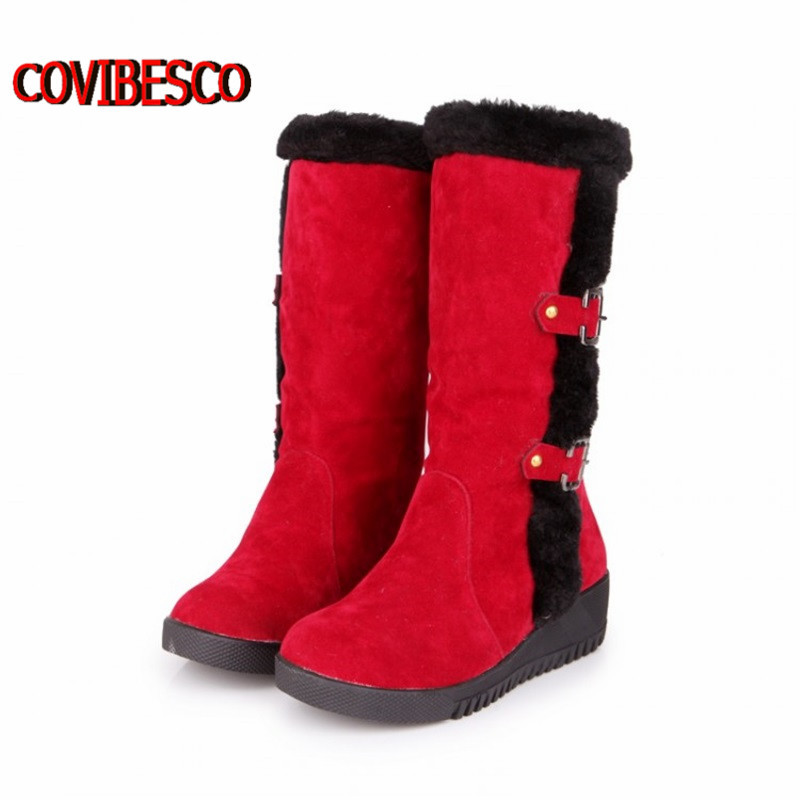 Women warm winter boots knee high fashion design platforms motorcycle fur snow shoes woman - COVIBESCO Ltd's store