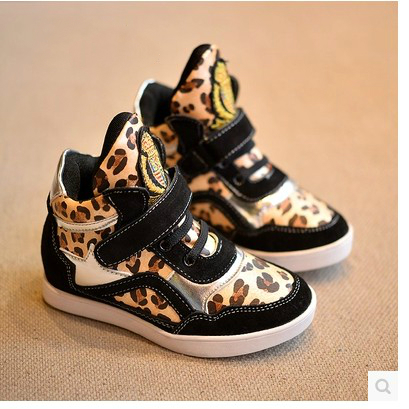 Children shoes autumn&winter child sports casual shoes genuine leather Leopard boys sneakers girls Sequins high top boots child(China (Mainland))