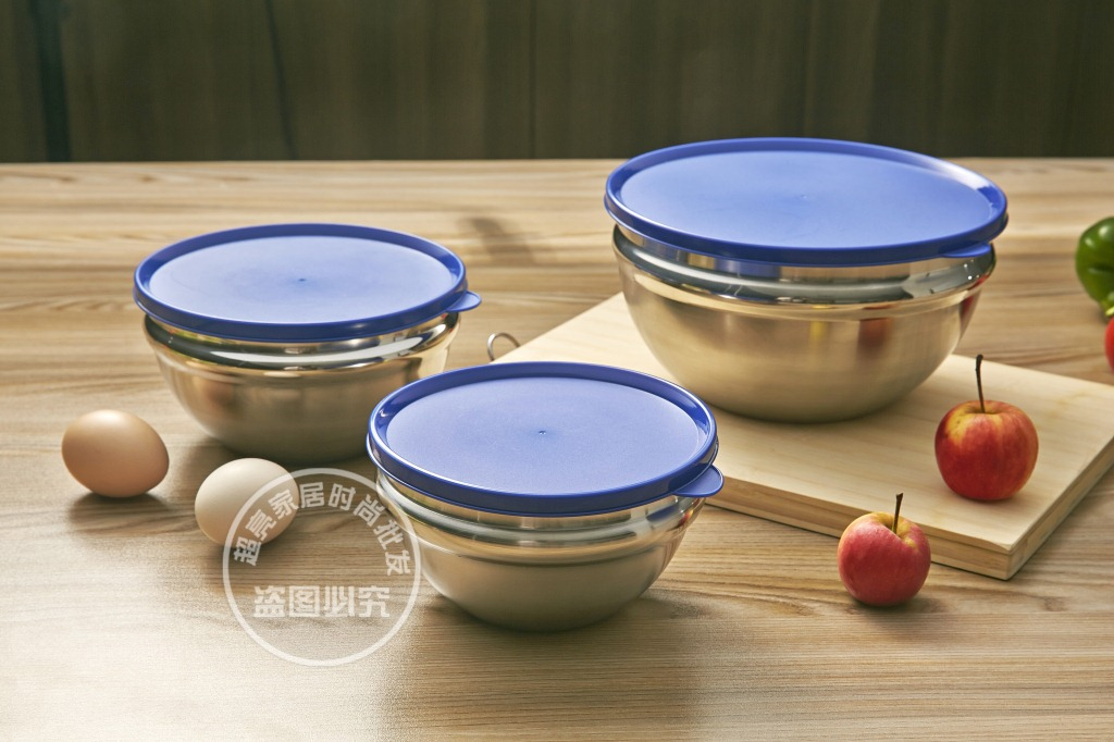 Stainless Steel Bowls Lids Lunch Box Thermos Food Fruit Bowl Salad Ice Cream Container Tableware