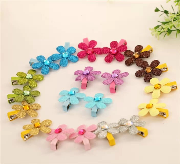 Flowers shine children kids baby girls hair accessories clip hairpins barrettes headwear bow Retail Boutique wholesale JF-460(China (Mainland))
