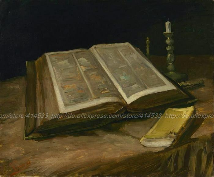 Items Abstract Canvas Wall Art Blue Acrylic Paints Large Modern Vincent Van Gogh Still Life With Bible October(China (Mainland))
