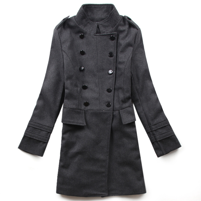 Woman Blends 2015 New Fashion Slim Wool blended Double-Breasted Coat Winter Gray/black(China (Mainland))