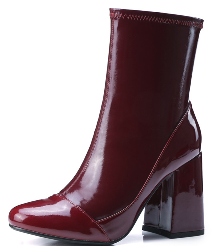 Brown Black Square Toe Thick High Heel Women Autumn Fashion Mid High Europe Style Real Patent Leather Lady Boots Shoes F826(China (Mainland))