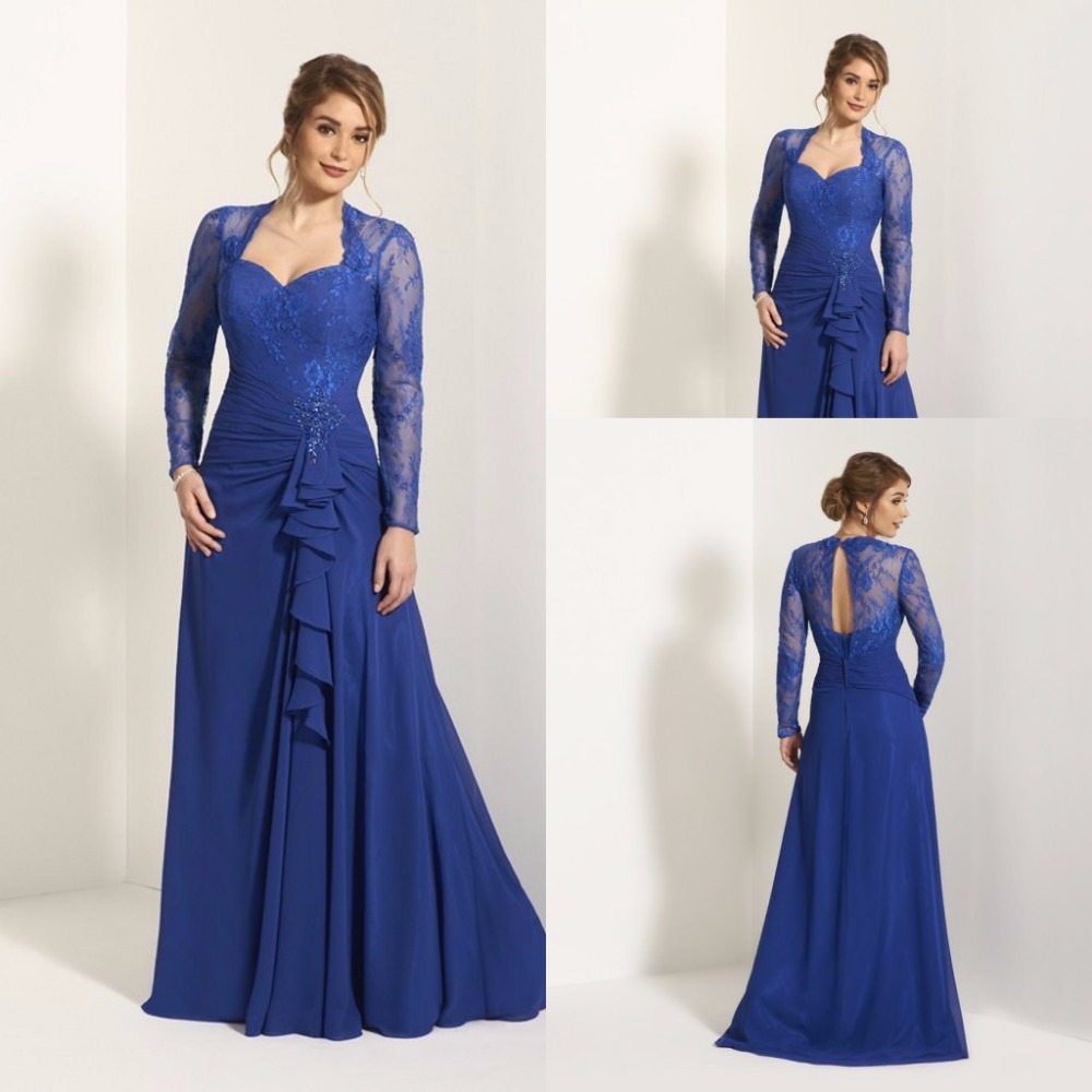 Elegant lace royal blue wedding mother of the bridal for Blue wedding dress with sleeves