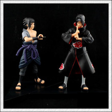 2015 New year Gift 2pcs/set Anime Naruto Uchiha Sasuke + Uchiha itachi PVC Action Figures Collectible Model Toys