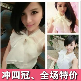 Yy 2013 the trend of new arrival women's organza lacing bow perspective candy wrapper top