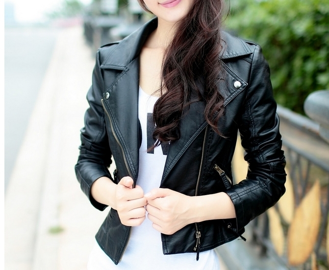 PU Leather turn-down collar women's slim motorcycle leather clothing short jacket outerwear Black/Wine Red(China (Mainland))