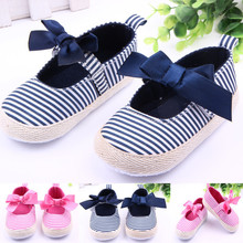 30 pairs/lot Bow Striped Newborn Baby Shoes