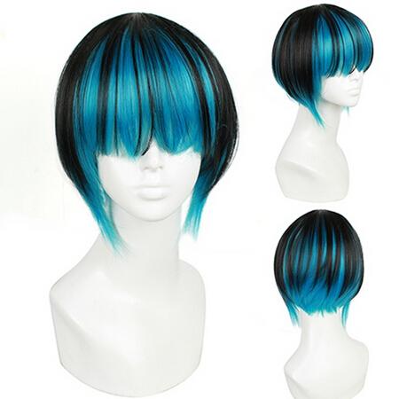 "10""(25cm) Black Mix Blue Short Straight Anime Cosplay Wig Fashion Cover Eye Bangs Hair Wigs(China (Mainland))"