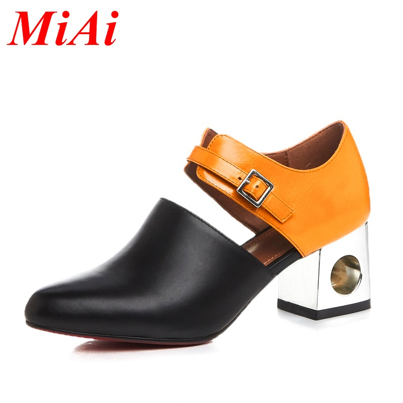 2016 new sexy pointed toe high heel women pumps genuine leather spring summer shoes woman fashion dress party casual shoes pumps(China (Mainland))