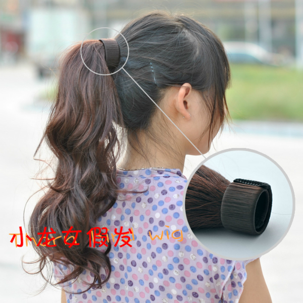 Free shipping-2012 New arrival synthetic  clip-in ponytails hair extension 2pcs/lot  light brown, dark brown, black-Promotion<br><br>Aliexpress