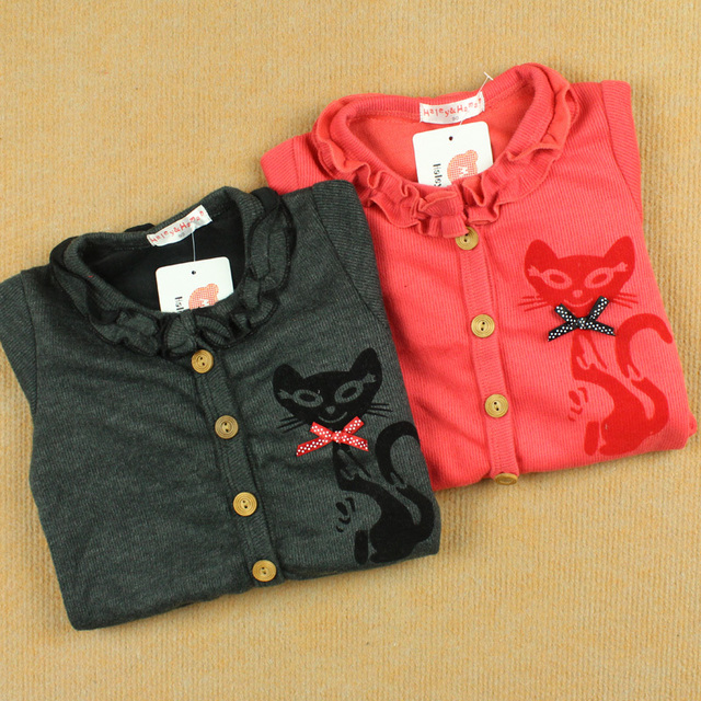 Small cat sweet outerwear girls spring clothing knitted 100% cotton long-sleeve cardigan
