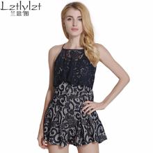 Buy LZ Women Black Lace Jumpsuit Sleeveless Ruffles Tank Playsuit Women Lace Elegant Jumpsuit Romper Halter Short Playsuit for $15.99 in AliExpress store