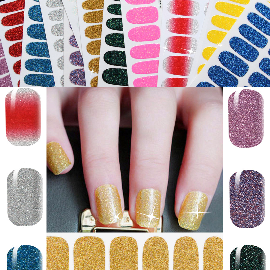 1sheet 12 Color Choose Sexy Glitter Full Nail Stickers Nail Patch French Manucure All Nail Decals For Woman Beauty Nail Art Tool(China (Mainland))
