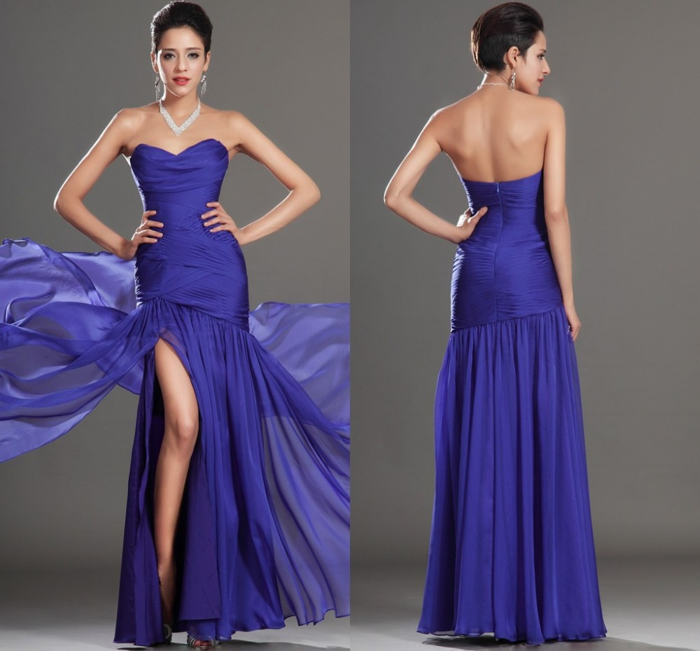 Simple sweetheart purple chiffon mermaid evening gowns for Simple wedding dresses under 100
