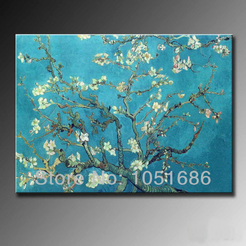 Hand Drawing Van Gogh Famous Oil Painting Reproductions Impression Almond Branches Canvas Art Wall Decor Flower Picture For Sale(China (Mainland))
