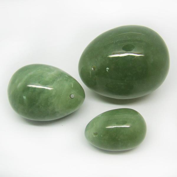 Оптовая 5sets зеленый авантюрин, пробуренных нефритового яйца с мешком