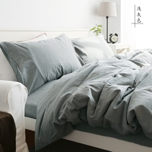4 Pcs 100%Cotton water-washing simple soft Bedding set King Queen Full Bed Linen Fitted Sheet Duvet Cover Pillow cover 4 size(China (Mainland))