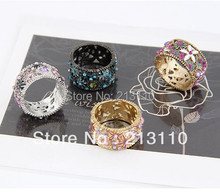 (Min Order is $10,Mixed order) New Arrival Fashion Flower Enamel Round Finger Ring For Women High Quality Free Shipping