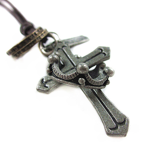 Novelty Fashionable Necklace Titanium Leather Necklace Cross Necklace Cowboy Pendant Punk Necklace GIFT(China (Mainland))