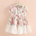 retail ! 2015 new summer kids girls clothes cute cake mesh patchwork chiffon girl blouse baby for 2~7 age